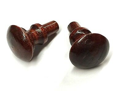 Wood Piano Fallboard/Key Cover/Desk Knobs, 1 Pair, Red Mahogany Stain, Peg End