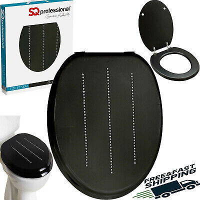 Black Stylish Wooden Mdf Toilet Seat Chrome Hinges Including Fitting Diamonds