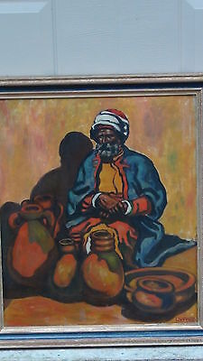 EARLY 20c ORIGINAL OIL ON CANVAS OF ARABIAN MAN STREET VENDOR SELLING A POTTERY
