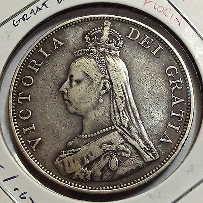 Great Britain 1888 Silver Double Florin Better Grade Low Mintage Of 243,000