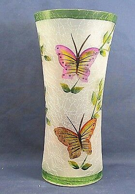 Vase Frosted Crackle Glass w/ Hand Painted Flowers & Butterflies Flared