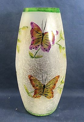 Vase Frosted Crackle Glass w/ Hand Painted Flowers & Butterflies Cylindrical