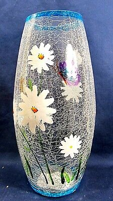 Flowers & Butterflies Vase Clear Crackle Glass  Hand Painted Cylindrical