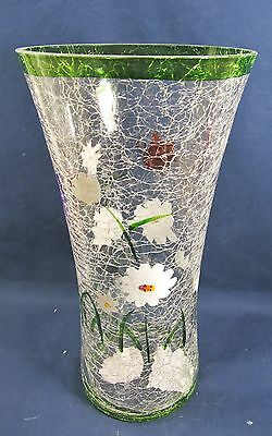 Vase Clear Crackle Glass w/ Hand Painted Flowers & Butterflies Flared
