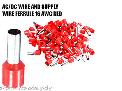1000pcs 16 AWG 8mm long Insulated Cord End Terminal Wire Ferrules E1508