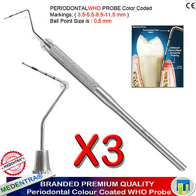 Parodontale de diagnostic Sonde dentaire de Nabers 2N SONDE FURCATION COLORE X3