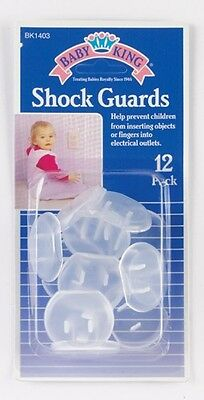 Baby King 12pc PLASTIC CHILD SAFETY OUTLET COVERS, Shock Guard
