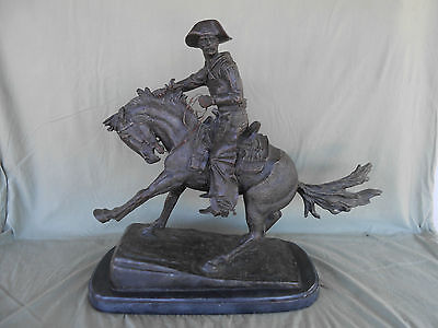 Bronze Statue Of Horse And Cowboy By Frederick Remington Signed