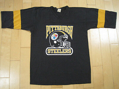 PERFECTLY FADED!! 80s vtg PITTSBURGH STEELERS v neck T SHIRT football LARGE