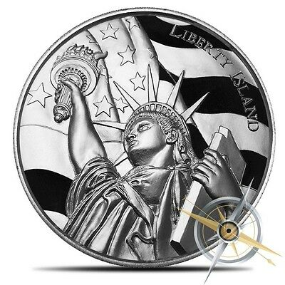 2 oz Ultra High Relief Silver Liberty Island Round ~ American Landmarks ~ 2nd