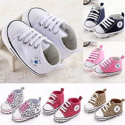 Classy Infant Toddler Crib Kid Boy Girl Newborn Baby Shoes Leopard&Pure Sneaker