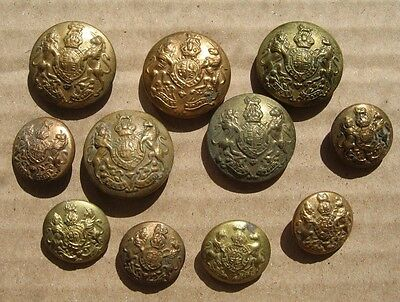 BRITISH ARMY GENERAL SERVICE SET OF 11 BRASS BUTTONS for a SERVICE DRESS TUNIC