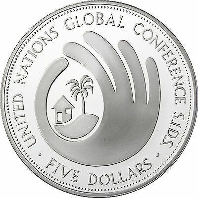 1994 5 Dollars Barbados 1994 United Nation Global Conference pp Silber