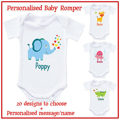 Personalised / Customised Baby Romper Bodysuit and T-Shirt - cute animal