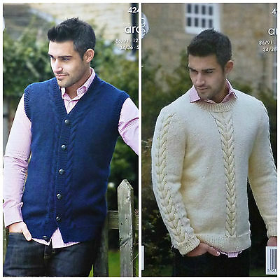 KNITTING PATTERN Mens Long Sleeve Round Neck Cable Jumper Aran King Cole 4241