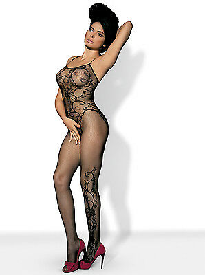 Bodystocking S-L floral Muster Catsuit Bodysuit Nylon Netz Overall Anzug XL XXL