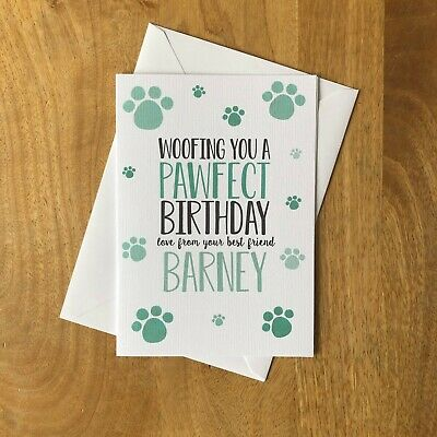 Personalised Birthday Card From The Dog Cat Puppy Kitten Dogs Cats Pawfect