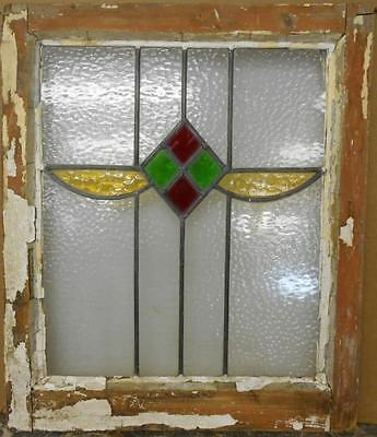 """MID SIZED OLD ENGLISH LEADED STAINED GLASS WINDOW Nice Geometric 19.75"""" x 23.25"""""""
