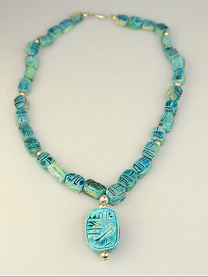 "Vtg Sterling Silver Egyptian Faience Glazed Turquoise Scarab Bead 20"" Necklace"