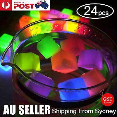 24X Glowing Ice Cube Cubes Glow in the dark Light UP Party Wedding Toy Swimming
