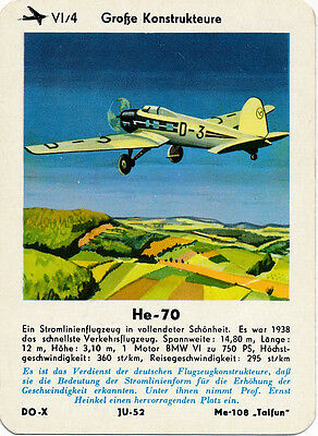 Single Vintage German Game Card: He-70