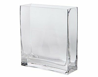 Set of 2 Rectangular Glass Vases Floral Flowers Square Modern Decor Home Kitchen