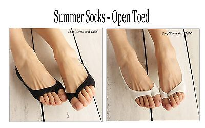 Summer Socks - Open toe None-slip Thin female women's Bamboo Fibre Black/White