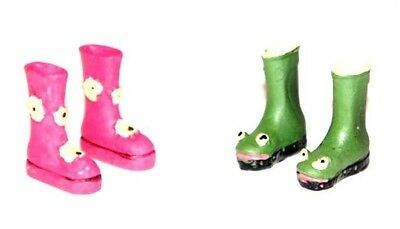 PATTERNED WELLINGTON BOOTS - 1/12th SCALE FOR FAIRY GARDENS - CHOICE OF 2- NEW