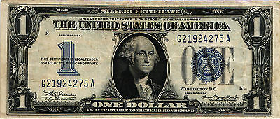 "1934 $1.00 United States Silver Certificate ""Funny Back"" FR#1606 G21924275A  VF-"