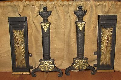 Vintage Cast Iron Andirons Fronts and Side Fireplace Covers #2147