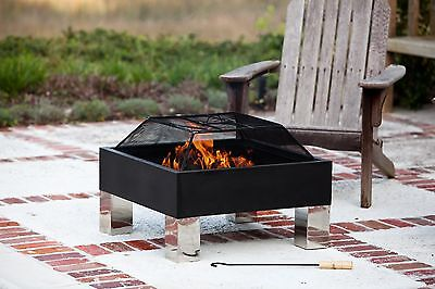 """Fire Sense 26"""" x 26"""" Square Fire Pit, Pressed and Stainless Steel, Spark Screen"""