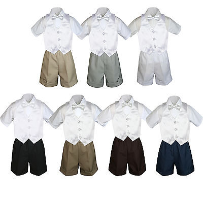 4pc Set Boy Toddler Formal White Bowtie Vest Brown Navy Black Khaki Shorts S-4T