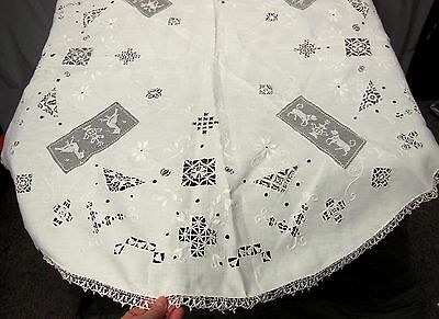 Antique Figural Filet Reticella Italian LACE Linen Embroidered Tablecloth Round