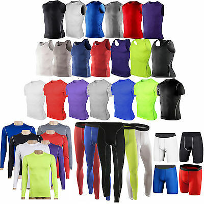 Men's Compression Shirt Work out  Base Layer Tights Top GYM Skins Shorts Pants