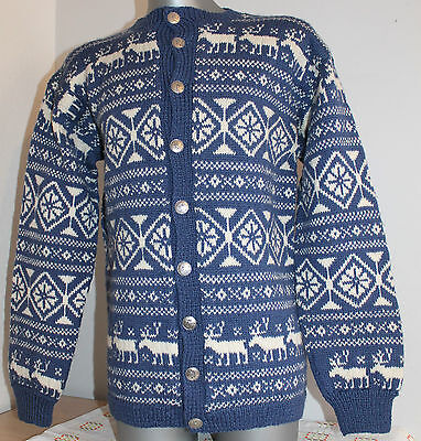 Womens O.ALLERS 100% WOOL Nordic Norway Cardigan Jumper Telemark Dale Of. Size L