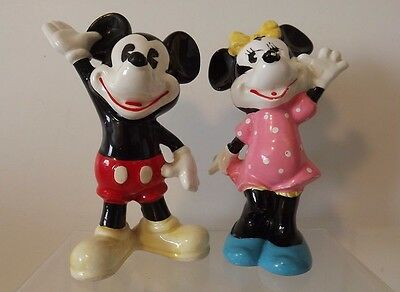 Rare Vintage Disney Mickey and Minnie Mouse ceramic figurines made in Japan