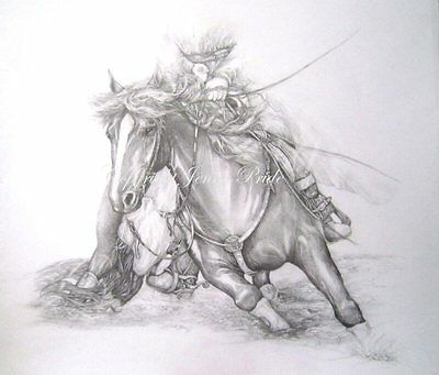 Large Quarter Horse Original graphite Art Equine drawing Award Winning Artist
