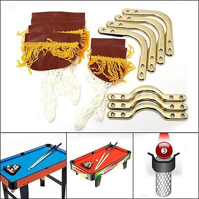 PU Leather Kids Child Snooker Billiards Pool Cue Table Pocket Nets Bag Set Of 6