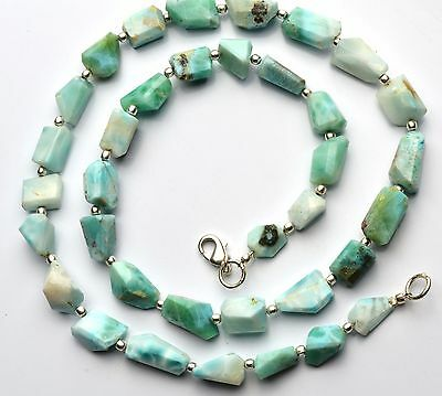 """Natural Rare Gem Larimar Faceted Nugget Beads Necklace 210Cts. 20"""""""