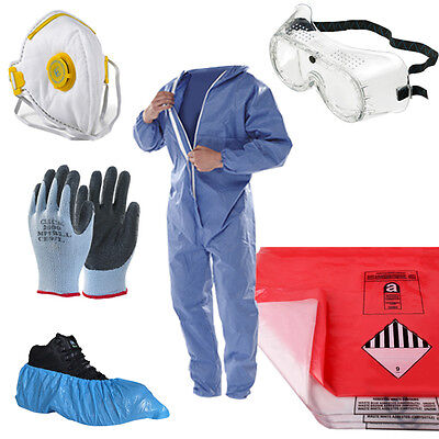Asbestos Removal Pack Kit - Blue Coverall, Disposal Bags, Mask, Gloves, Goggles