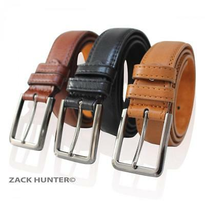 """Mens Real Leather Belts 1.25"""" Wide Belt Grain Effect Black Brown And Tan Mb108"""