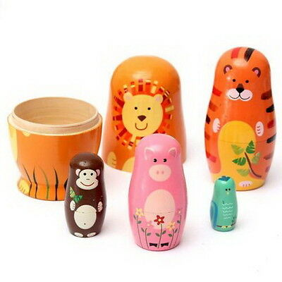 Set of 5pcs Cute Wooden Nesting Dolls Matryoshka Animal Russian Doll Paint Gifts