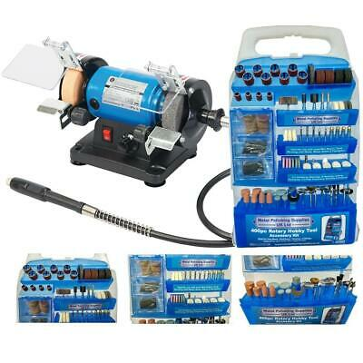 "3"" Mini Bench Grinder 120W Variable Speed With 400pc Accessory Set"
