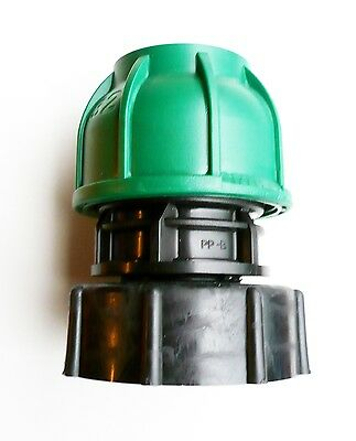 """IBC ADAPTER (S60X6 2"""" Coarse Thread) to 32 mm Straight MDPE Compression Fitting"""
