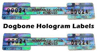 DOGBONE Security Hologram Stickers NUMBERED, 52mm x 10mm, Warranty Labels VOID