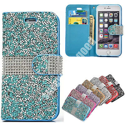 For iPhone 6 6s 7 Plus Luxury Diamond Bling Wallet Card Holder Stand Case Cover
