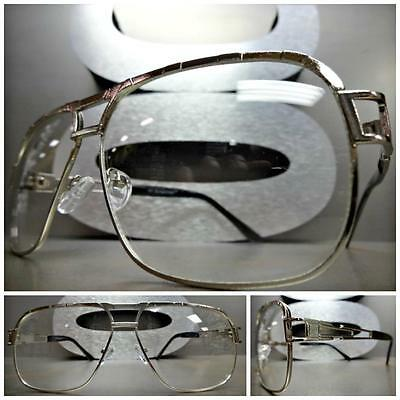 CLASSIC VINTAGE RETRO Style Clear Lens EYE GLASSES Large Silver Fashion Frame
