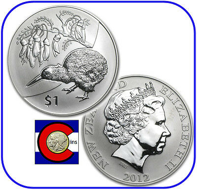 "2012 New Zealand Kiwi-Kowhai $1 1oz BU Silver, Initial ""Kiwi Treasures"" Coin"