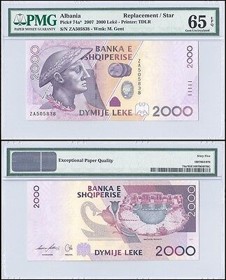 Albania 2,000 (2000) Leke, 2007, P-74a, UNC, M. Gent,Replacement/Star,PMG 65 EPQ