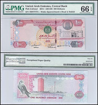 United Arab Emirates - UAE 100 Dirhams, 2014, P-NEW, PMG 66
